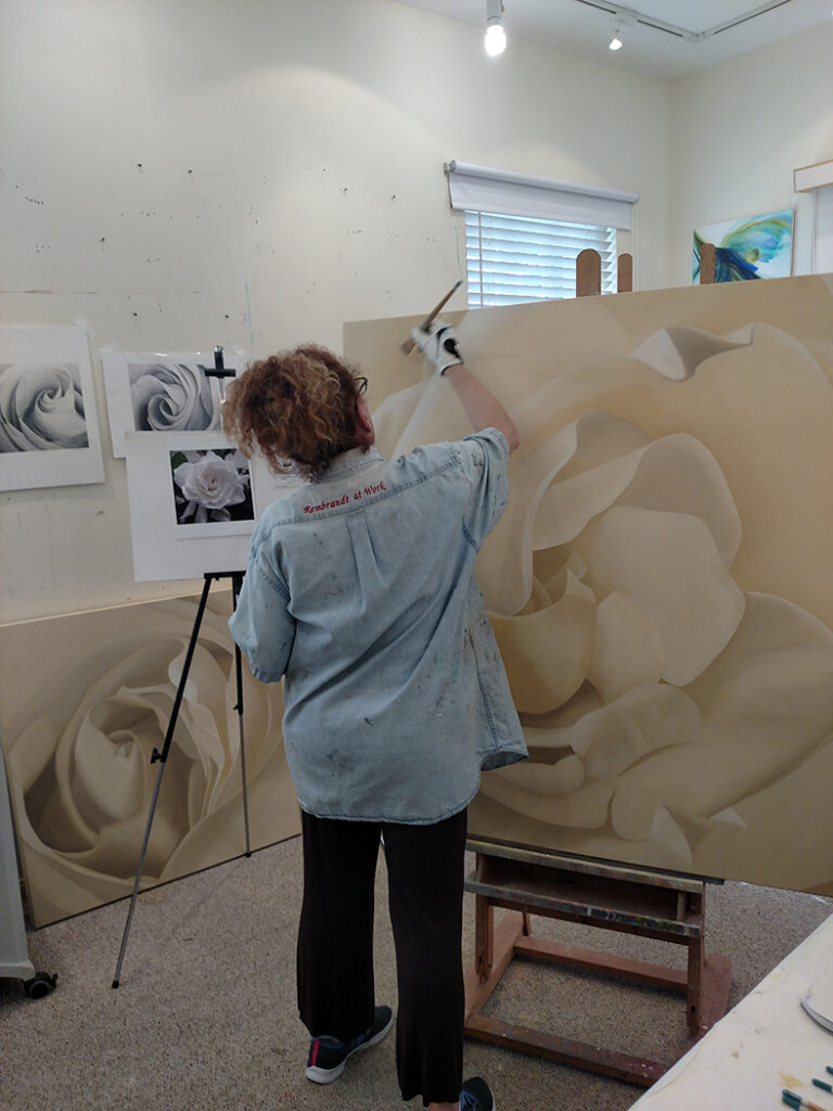 Deborah working in her studio